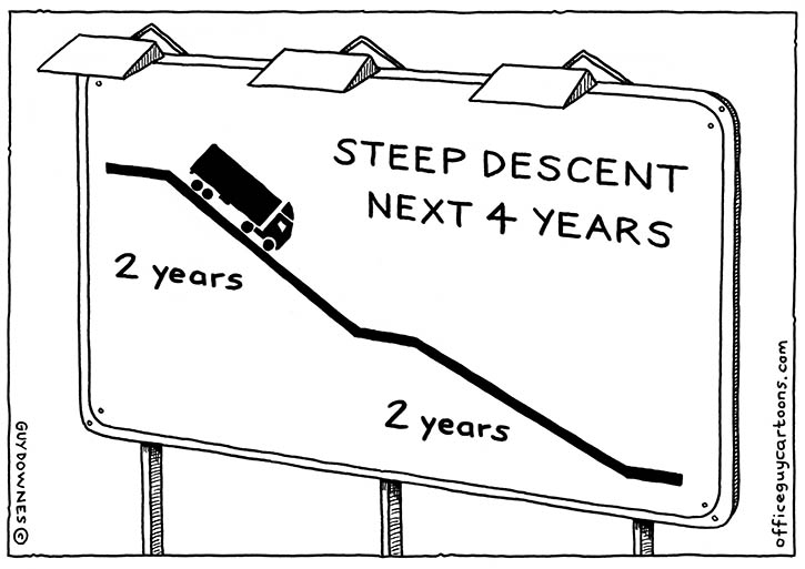 Steep descent cartoon