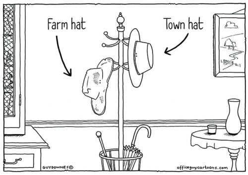 Farm hat vs Town hat